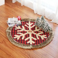 Рождественская елка юбка красного плед Снежинка дерево юбка Окно Нового год Рождество Декор подарки Фестивали Поставка HHA1508