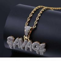 Hommes Hip Hop Bijoux New Mode Lettre Bling SAVAGE Collier avec pendentif chaîne d'argent d'or Twist