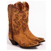 المرأة الفلاح تان مطرز الفراشة راعية البقر أحذية الغربية الأحذية النسائية ريترو الركبة العليا الجلدية المصنوعة يدويا كاوبوي