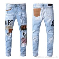 New Mens Distressed rasgado Biker Jeans Slim Fit Motociclista Denim For Men Fashion Designer Hip Hop Jeans Mens