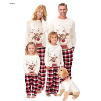 정장 크리스마스 엘크 인쇄 만화 잠옷 D91608 일치 가족 크리스마스 잠옷 2 개 / 세트 양털 안감 블라우스 T 셔츠 격자 무늬 바지 바지