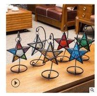 2020 heißen Verkauf Weihnachtsgeschenk glas hängen Eisen fünf zackigen Stern Kerzenständer Haushalts-Metall-Wind Lampe windproof Leuchter