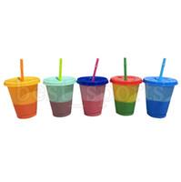 Kapak Kamışlar CYZ2689 ile 16 oz Renk değiştirme Bardaklar PP Malzeme Sıcaklık Algılama Bardaklar Sıska Tumblers Coffee Cup Kupa Su Şişeleri