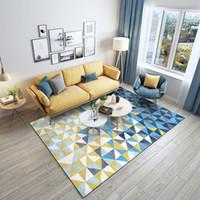 Nordic Fashion Blu Giallo gradiente tappetino da letto soggiorno cucina tappeto superficie morbida coperta decorazioni di Natale grata di diamante