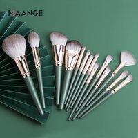 2020 MAANGE 14pcs spazzole di trucco verde grande Loose Powder High Gloss ombretto Fondazione Contour capelli sintetici cosmetici Strumenti