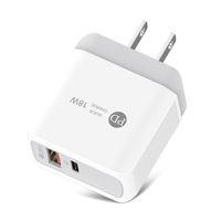 Быстрая зарядка 3.0 PD Зарядное устройство 18W USB Тип C Адаптер для мобильных телефонов для iPhone Samsung ЕС US Plug Dual Port Fast Charger