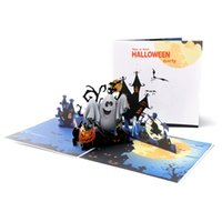 Halloween 3D Handmade Greeting Cards Personality Creative Ghost Pumpkin Paper Card Festive Party Greeting Cards for Gift