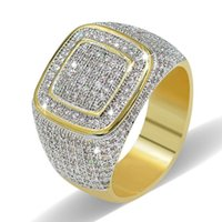 18K Gold Plated Classic Iced Out Bling Bling Ring Mens Micro Pave Cubic Zirconia Simulated Diamonds Hip hop Rings