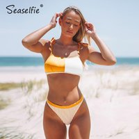 Women's Swimwear SEASELFIE SEXY Orange Gestreifte Bandeau Tank Bikini Sets High-Cut Badeanzug Zwei Teile Frauen 2021 Strand Badeanzug