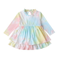 Baby Tie Dyed Dress Long Sleeve Cake Girls Dresses 2020 Spri...