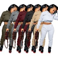 Kadınlar Eşofman Vücut Mektupları Uzun Kollu T Shirt Tozluklar İki Adet Kıyafet Spor Suit S-XXL D92302 En Kapşonlu Triko Polar Pantolon kırpma
