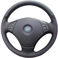 التوجيه جلدية DIY تغطية عجلة القيادة لسيارات BMW E90 335i / 335XI / 328I / 328XI / 335D / 330I 330XI BMW 325I 325XI اكسسوارات 4D
