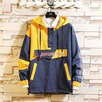 Куртка толстовка моды японский Trend Multi-карман Плюс Размер Свободный Толстовка Дизайнер Мужской Инструментальное пуловер Hoodie Человек Лоскутная пуловер