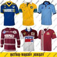 Retro Rugby Jersey 1982 Parramatta Yıllar 1985 NSW Blues Retro 1998 QLD Maroons 1999 Avustralya `987 Erkeklik Deniz Kartalları Formalar Boyut S - 4XL 5XL