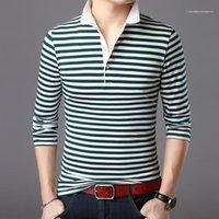 Male Fashion Top Mens Business Striped Casual Tshirt Spring Slim Long Sleeve Lapel Neck Designer Tees