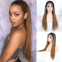 High Density Braided Synthetic Lace Front Wig Box Braids Bro...