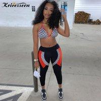 Kricesseen Casual Baskı Sportif Aktif Giyim İki Adet Pantolon Seti Kadınlar Kolsuz Bandaj Sütyen Üst Ve Uzun Pantolon 2 adet Kıyafetleri