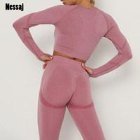 Nessaj Frauen-nahtlose Fitness Sport Zwei-teiliges Set 2020 langärmliges Oberteil mit hohen Taille Lauf Leggings Workout Schlank Gym Outfit T200810