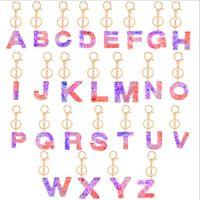 Блеск Подвеска Key Chain Акриловые брелок A -Z Keyrings Конструктор Key Ring Charm сумка Sequined 26 Letters держатель ключа аксессуары E92101