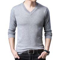 BROWON Марка свитер осень Slim Fit Свитера Мужчины Повседневная Solid Color свитер V шеи Пуловеры Черный Серый пуловер пуловер Мужчины