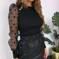 Designer Tshirts Women Button Panelled Sweet Sexy Slim Dots Crew Neck Tshirts Womens Fashion Tees Mesh Puff Sleeved
