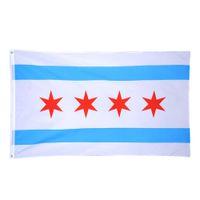 Großhandel Fabrik Preis 3 x 5 ft 90x150 cm Drucken Polyester US USA Bundesstaat Chicago Chicagoans Flagge