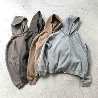 Winter Übergroße Schwere Baumwollfleece-Hoodie Hohe Qualität Hip-Hop-Reißverschluss Raglan-Streetwear Vierfarben