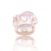 Anneaux de bandes de bijoux Fashion Rose Flower Tendance Métal Or Argent Color Anneau Best-Friend Cadeaux Accessoires femme pour femmes