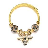 Fashion charms bracelet diy gift jewelry shiny rhinestone ball beads queen bee pendant bangle