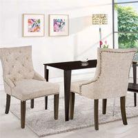 US-Aktien 3-5 Tage Liefer Dining Stuhl mit Armlehne, Nailhead Trim Leinen Polster 2er-Set (beige) WF010762AAA