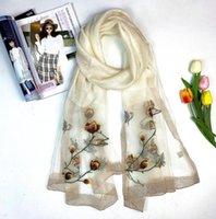 Haute Qualité Mode 2021 Véritable foulard en soie pour femme imprimé à la broderie imprimée hiver châle foulards taille 180x70cm 7 couleurs