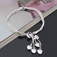 925 посеребренные сердечные кулон браслет браслет шарм мужчин и женщин Pandora змея цепь DIY Bead Charm браслет 5 любви