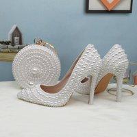 BaoYaFang blanca granos de la perla zapatos de las mujeres de la boda de novia zapatos de tacones altos damas super grande mujer vestido de fiesta tamaño de punta estrecha