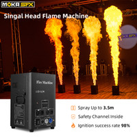 Espanha estoque 2 pçs / lote flama máquina de iluminação de fase pulverizador 2-4m dmx chama gênio gênio canal de segurança projetor de fogo para o DJ DJ da festa de discoteca