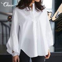 Женские блузки рубашки элегантные работы женщины 2021 Celmia сплошные длинные вспышки рукава рубашка рубашка повседневная асимметричные вершины дамы Blusas Feminin