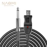 NAOMI Gitar İçin PC USB Kayıt Kablo Kurşun Adaptörü Dönüştürücü Bağlantı Arayüz 6.5mm
