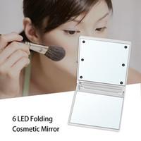 Dobrável compactos Espelhos 6 luzes LED Maquiagem espelho portátil compacto Mini Praça Cosmetic LED Espelho J1038