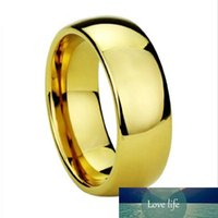 Drop Shipping 8mm tungsteno Wedding Band anelli d'oro di colore per gli uomini di barretta di aggancio Ring Alliance Classic Jewelry Size 4 a15 J190714