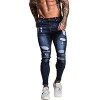 Men's Jeans Ripped Skinny Men Pants Slim Fit Fashion Causal Pocket Zipper Shredded Long Trousers