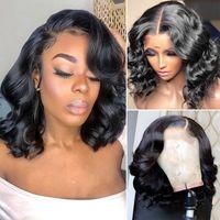 الجسم موجة قصيرة بوب لمة الدانتيل الجبهة الشعر البشري 13x6x1 t نوع الباروكة البرازيلي الشعر المحيط موجة الباروكة للنساء السود
