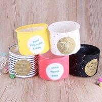Nuovo conveniente Lino escursioni Storage Box Holder cosmetici gioielli cancelleria dell'organizzatore pieghevole di caso Houseold cestino di immagazzinaggio