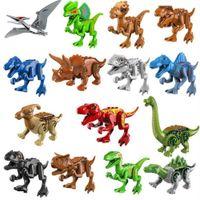 15 unids / set Jurásico Mundo Dinosaurio Brutal Raptor Minifig Figuras Ejército Compatible Bloques de construcción Mini ladrillos Dino Coche Ciudad Juguetes para niños
