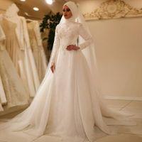 Robes de mariée musulmanes ivoire avec hijab dentelle dentelle applique longue arabe Arabe Dubaï Robes de mariée islamique sur mesure Robe de mariée de taille personnalisée