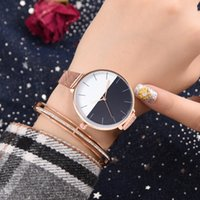 WJ-7816 Two-tone Ladies Dress Rose Gold Watches Luxury Fashion Lady Mesh Stainless Steel Casual Women Watch Orologio femminile