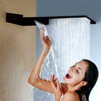 """Negro de acero inoxidable de acero inoxidable ultrafino 304 16"""" Cascada de ducha de lluvia cabeza Plaza montado en la pared pulverizador C0926"""