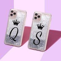 iPhone 11 x XS XR Maxpro 7 8 7Plus 8plus 6 Z Taç Sparkle Sıvı Gerçek Glitter Telefon Kılıfı Cover Custom baş harfleri ismi A