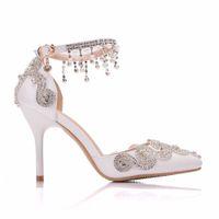 Chaussures récent de mariage blanc ABS 3.5inch talon 3.7inch femme main pompes vente chaussures blanc magnifique strass usine chaussures shinny de bridemaid