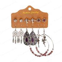 Ethnische Lila Perlen Runde Legierung Traumfänger Ohrringe gesetzte Art und Weise Frauen-Sommer Boho Blume Wasser-Tropfen-Ohrringe