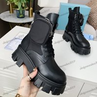Donne invernali Martin Stivaletti Stivaletti spazzolato Rois Real Leather e Nylon Combat Boot Nuovo Rimovibile Keycase Thick Bottom Toes Gedes Motorcy