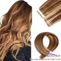 Толстый конец P4 / 27 Tape In Extensions волос Highlight Коричневый Белый Straight Remy человеческих волос Бесшовные PU кожи Уток Невидимый на Липкие 20шт